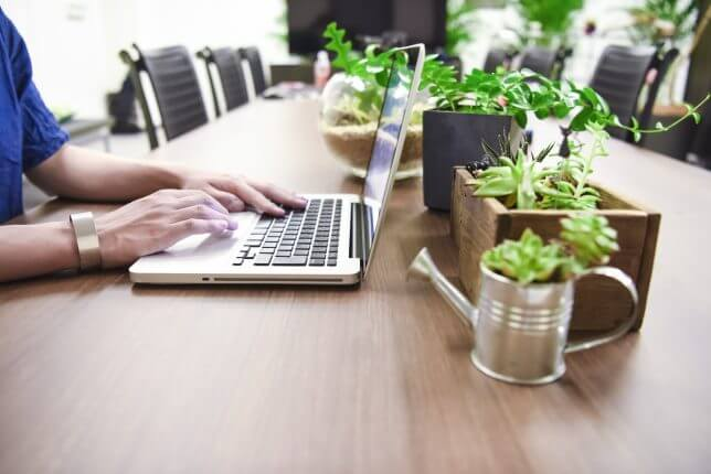 観葉植物のノートPC