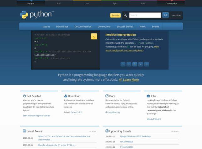 Pythonの公式サイト